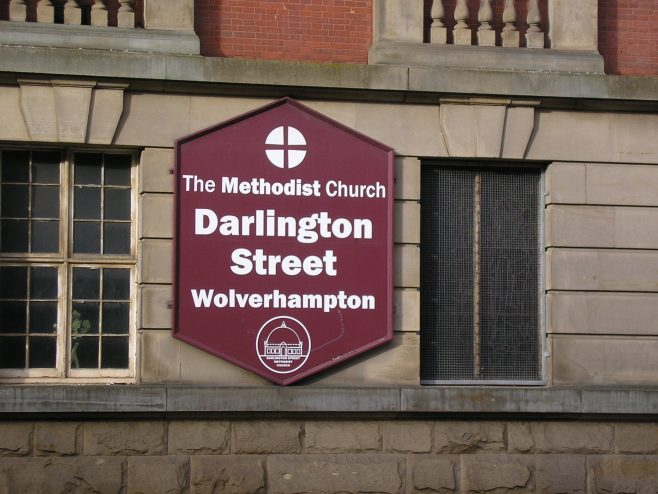 Wolverhampton, Darlington Street Methodist Church, notice board, 10.10.2016 | G W Oxley