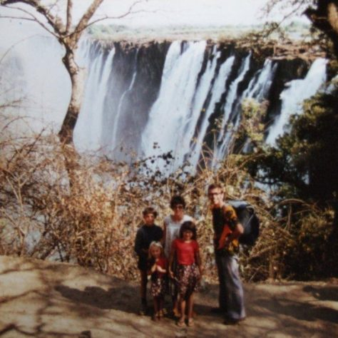 The Young family at Victoria Falls